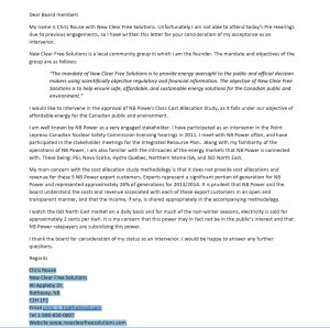 New Clear Free Solutions Letter to EUB for Consideration of Intervenor Status- Nov 25 2014
